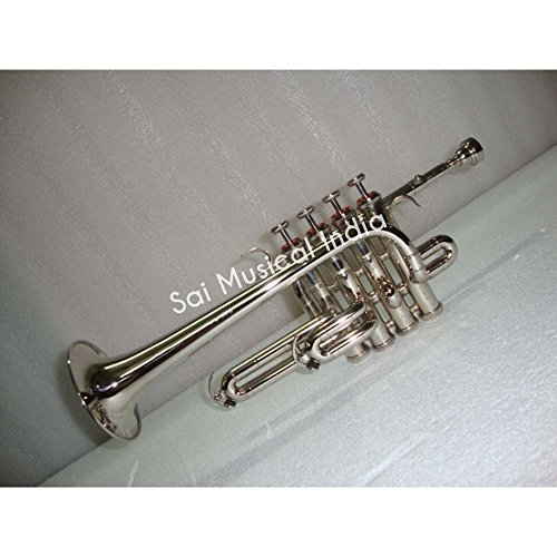 Queen Brass Top Grade Silver Nickel Piccolo Trumpet Bb Pitch Along With Mouthpiece MI 082