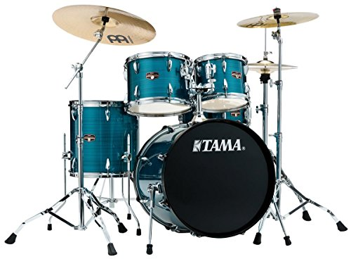 Tama Imperialstar 5-Piece Complete Drum Set with Meinl HCS Cymbals – FREE PROMO CYMBAL PACK – Hairline Blue