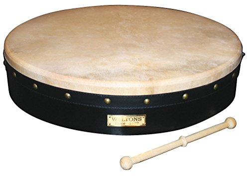 Waltons Bodhrán 18″ (Tunable Black) – Handcrafted Irish Instrument – Crisp & Musical Tone – Hardwood Beater Included w/ Purchase