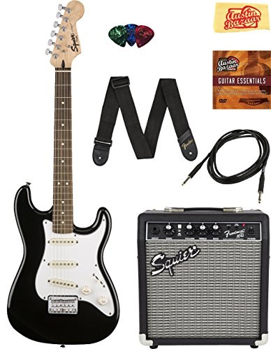 Squier by Fender Stratocaster Pack with Frontman 10G Amp, Cable, Strap, Picks, and Online Lessons – Black Bundle with Austin Bazaar Instructional DVD