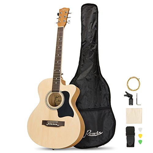 Artall 39 Inch Handmade Solid Wood Acoustic Cutaway Guitar Beginner Kit with Gig bag, Tuner, Strings, Picks, Strap, Matte Natural
