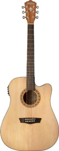 Washburn WD7SCE Harvest Series Solid Sitka Spruce/Mahogany Dreadnought Cutaway Acoustic-Electric Guitar – Natural Gloss