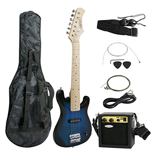 Smartxchoices 30″ Inch Kids Electric Guitar With 5W Amp & Much More Guitar Combo Accessory Kit Holiday Gift (Blue)