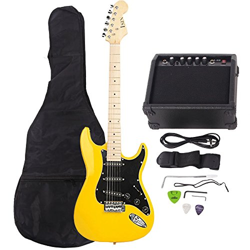 ISIN Full Size Electric Guitar for Beginner with Amp and Accessories Pack Guitar Bag (Yellow)