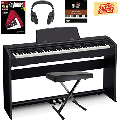 Casio Privia PX-770 Digital Piano – Black Bundle with Adjustable Bench, Headphones, Instructional Book, Austin Bazaar Instructional DVD, and Polishing Cloth