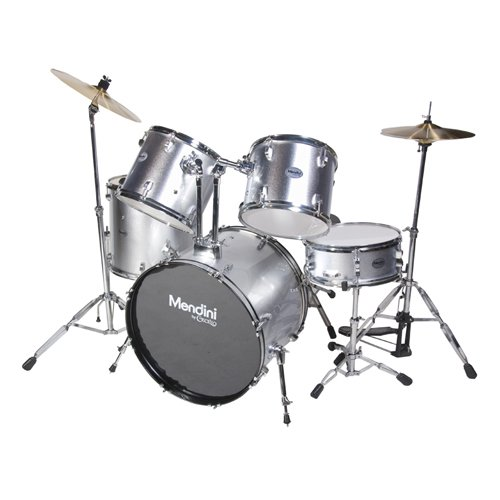 Mendini MDS100-SR Complete Full Size Senior 5-Piece Silver Drum Set with Cymbals, Drumsticks and Throne