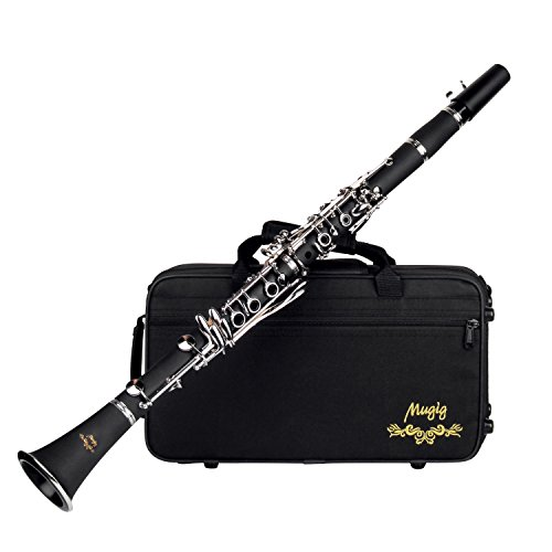 Mugig B Flat Clarinet 17 keys with Copper Keys, Obust Contoured Carrying Case and Caring Kit, Perfect Instrument for the Student / Beginner Musicians, Solo or Ensemble