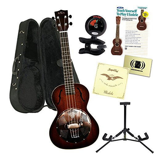 Kala KA-RES-BRS TENOR SATIN/RESONATOR w/BRASS Ukulele Bundle with Polyfoam Case, Tuner, Alfred's Teach Yourself to Play Ukulele C-Tuning Edition with DVD,Polishing Cloth Extra Strings and Stand