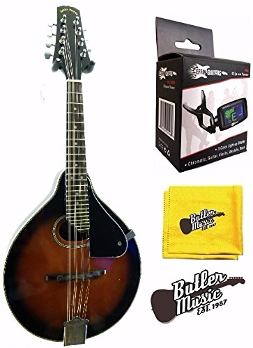 "Lucky Penny LPM-30 ""A"" Style Redburst Spruce Top Mandolin w/Clip-on Tuner and More"