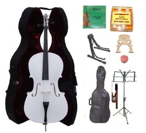 GRACE 4/4 Size WHITE Cello with Hard Case + Soft Carrying Bag+Bow+Rosin+Extra Set of Strings+Extra Bridge+Pitch Pipe+Black Cello Stand+Music Stand BY MERANO