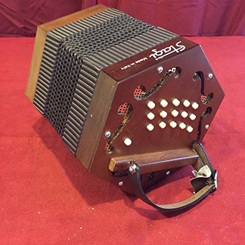 NEW Stagi M-5 Mahogony Anglo Concertina M 30, C-G, Made in Italy, Carrying Sack