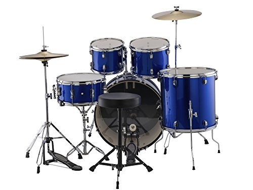 Ludwig Accent Fusion Complete 5 Piece Drum Set Kit with Hardware & Cymbals, Bodacious Blue