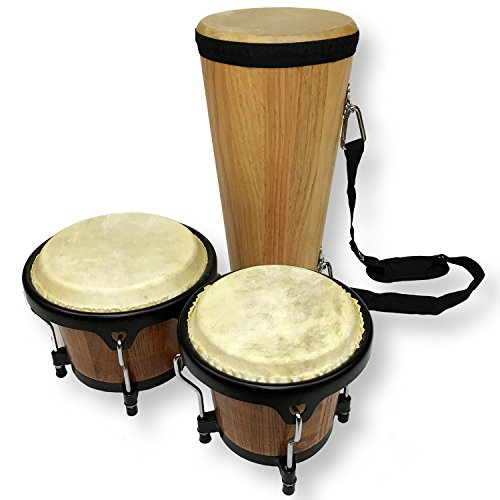 Conga And Bongos Set. 7.5 Inch Conga Drum And 7 Inch By 6 Inch Tunable Bongos