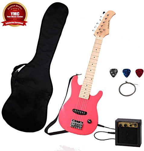 Stedman Kid Series Electric Guitar Pack with 5-Watt Amp, Gig Bag, Strap, Cable, Strings, Picks, and Wrench – Pink