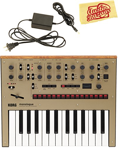 Korg Monologue Monophonic Analog Synthesizer – Gold Bundle with Power Supply and Austin Bazaar Polishing Cloth