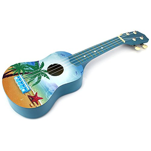 Play Some Wonderful Tunes In This Beach Inspired BLUE Classic Ukulele 4 Stringed Toy Guitar Lute Musical Instrument Entertain Friends And Family Or Play Your Own Songs