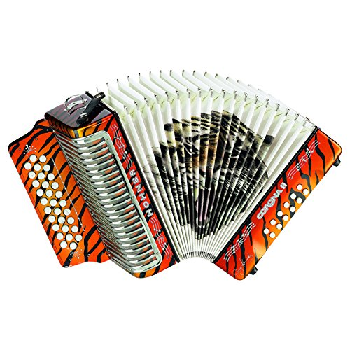 Hohner Button Accordion Corona II Los Tigres, GCF, Pearl Orange with Gig Bag & Straps