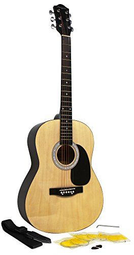 Martin Smith W-100-N-PK Full Size Acoustic Guitar with Strap, Strings & Picks, Natural