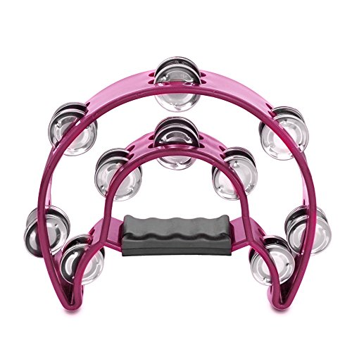 Flexzion Half Moon Musical Tambourine (Fandango) Double Row Metal Jingles Hand Held Percussion Drum for Gift KTV Party Kids Toy with Ergonomic Handle Grip