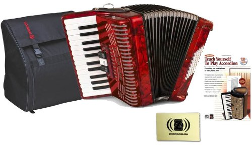 Hohner Accordions 1304-RED 73-Key 48-Bass Accordion Bundle with Hohner AGB-48 Gig Bag, Alfred's Teach Yourself to Play Accordion Instruction Book and Zorro Sounds Polishing Cloth