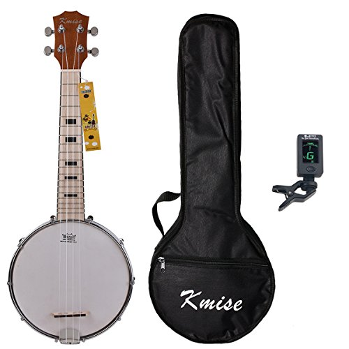 Kmise Uke Banjo 4 String Concert Ukelele 23 Inch Size Maple Banjolele with Bag Tuner