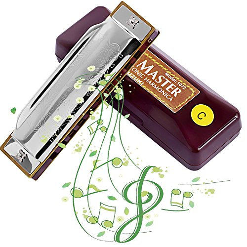 AINIMO Suzuki Blues Harmonica, Deluxe Diatonic 10-Hole Harp, Mini Mouth Organ, Key in C Harmonica for Beginner with Case