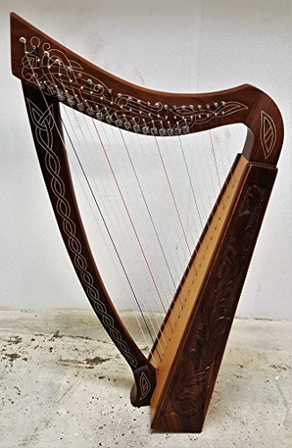 22 Strings Lever Harp Hand Carved design on Sound Box Free Carrying Case