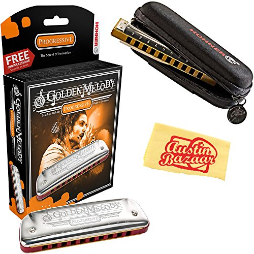 Hohner 542 Golden Melody Harmonica – Key of C Bundle with Carrying Case and Austin Bazaar Polishing Cloth