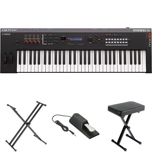 Yamaha MX61 Music Production Synthesizer, Black, with Stand, Pedal, and Bench