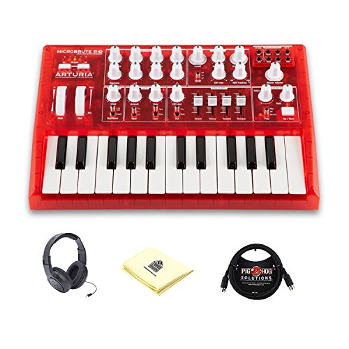 Arturia 540301 Microbrute 25 Mini Key Monophonic Analog Synthesizer with 3 Waveform VCO (RED Edition) with Synthesizer Midi Cable and Synthesizer Polishing Cloth (Special Red Edition Bundle)