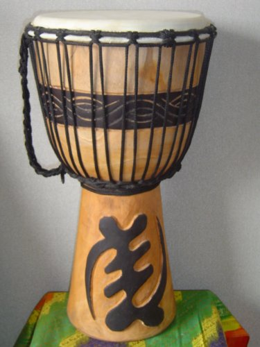 20″ X 10-11″ Deep Carved Djembe Bongo Drum GYE NYAME (God First) with Free Cover, Model # 50M11