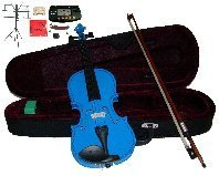 Merano 14″ Blue Viola with Case and Bow+Extra Set of Strings, Extra Bridge, Shoulder Rest, Rosin, Metro Tuner, Black Music Stand, Mute