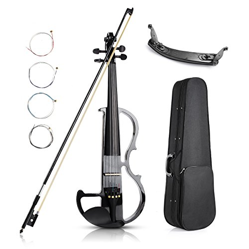 Vangoa – Black Full Size 4/4 Solid Wood Metallic Electronic Silent Mahogany Violin with Ebony Fittings, Carrying Case, Audio Cable, Rosin, Bow