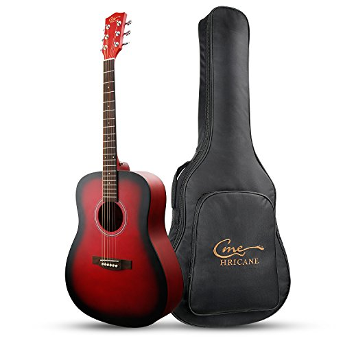 Hricane Beginner Acoustic Guitar 41″ Full Size Guitar, GU-1 Dreadnought Spruce Steel String Acoustic Guitar with Gig Bag (Red-Dreadnought)