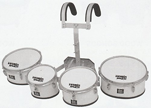 White Pro Beat Multitoms Quad Marching Snare Drums