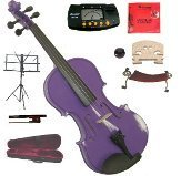 Merano 14″ Purple Viola with Case and Bow+Extra Set of Strings, Extra Bridge, Shoulder Rest, Rosin, Metro Tuner, Black Music Stand, Mute