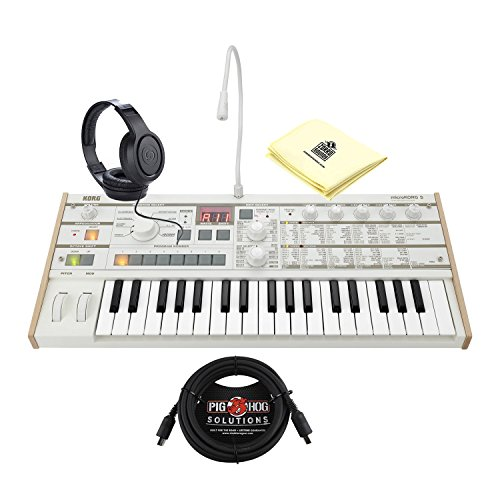 Korg Synthesizer MICROKORGS 37 Key Tabletop Synthesizer bundle with MIDI Cable , Open Ear Synthesizer Headphones and Synthesizer Cloth