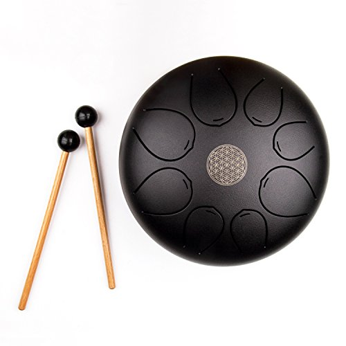Mugig Steel Tongue Drum, Tank Drum,8 inch pentatonic scale Hank Drum with Rubber Musical Mallet and Travel Bag Matte Black