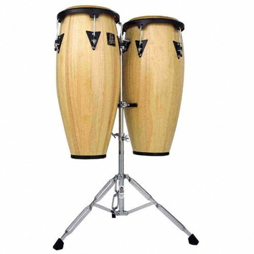 Latin Percussion LP Aspire Wood 10″ & 11″ Conga Set with Double Stand – Red Wood/Black