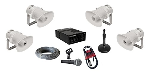 TOA SC-610T Paging Horn Loudspeakers Bundle with AtlasIED AA35G Mixer Amplifier, Pure Resonance UC1S Microphone and Accessories – Public Address Sound System (9 Items)
