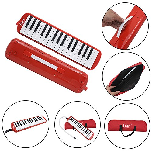 Huayao 32 Key Piano Style Melodica Musical Instruments With Carry Bag For Music Lover Beginner (Red)