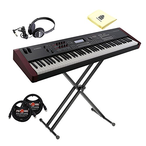Yamaha MOXF8 Graded Hammer Standard 88 Keys Music Production Keyboard Workstation with Initial Touch, Double X-Style Stand, Stereo Headphone, MIDI Cables and Synthesizer Cloth (MOXF8 Bundle)