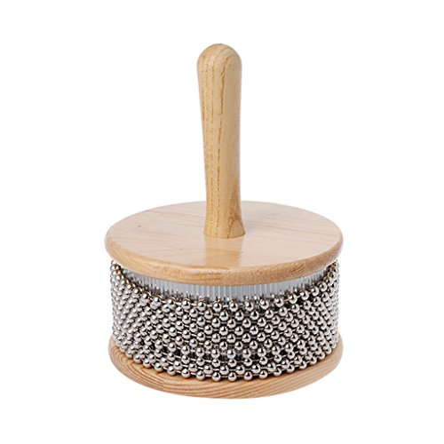 ULKEMEWooden Cabasa Percussion Band Tool Pop Hand Shaker For Children Kid (L)
