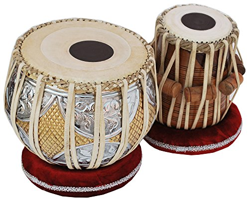 Tabla Drum Set, 2.5 Kg Double Color Brass Bayan, Sheesham Wood Dayan, Hand Made Nice Sounding Drum Heads, Leather Straps to Tune, Long Life, Comes with Tuning Hammer, Gig Bag, Cushion & Cover…