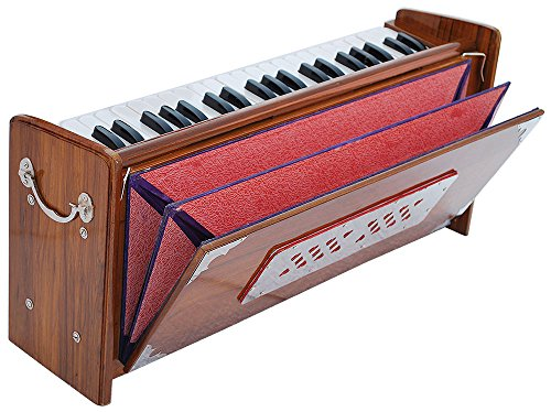 Harmonium Dulcetina Teak Wood By Kaayna Musicals, Compact Size, Easy to Carry, 3½ Octave, Natural Wood Color, Gig Bag, Bass/Male Reed- 440 Hz, Suitable for Yoga, Bhajan, Kirtan, Shruti, Mantra, etc