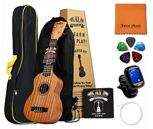 Kala Learn to Play Ukulele Starter Bundle, Light Mahogany – Includes Online Lessons, Tuner, App, JULIET MUSIC Gig Bag, Tuner, String, Picks and Polishing Cloth