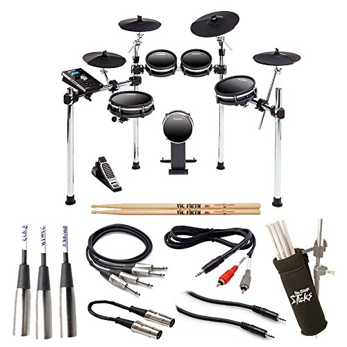 Alesis DM10 MKII Studio Kit Nine-Piece Electronic Drum Kit with Mesh Heads + On Stage Clamp-On Drum Stick Holder DA100 + 5A Drum Sticks + TRS Stereo Cable + RCA Adapter Cable – Complete Bundle
