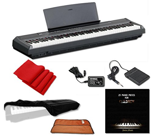 Yamaha P115 Digital Piano 88-Key Weighted Action with Sustain Pedal, Power Supply, JULIET MUSIC Piano Cover, Key Cover and Polish Cloth