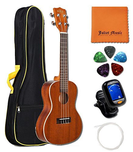 Kala KA-C Concert Ukulele Satin Mahogany Bundle with JULIET MUSIC Gig Bag, Tuner, String, Picks and Polishing Cloth