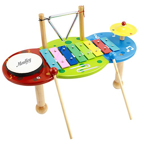 Moukey Xylophone Set Kids Musical Instrument Starter Pack with Bright Multi-Colored Keys and Wooden Mallets,Triangle,Cymbal,Drum